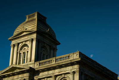 Portland Customs House with waxing gibbous moon, Portland, ME In Portland's Old Port area on Commercial Street, overlooking the water. All photographs are printed on high quality, professional Kodak metallic paper, unmatted, and shipped to you unframed so that you may choose your own matting and framing materials.  The following sizes are available unmatted: Unmatted prices: 8 x 10  $35 11 x 14  $50 16 x 20  $75 20 x 24  $100