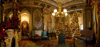 Ornate Parlor, decorated for the holidays, Victoria Mansion, Portland, ME. 8 horizontal photos taken across the entire room, stitched together in PTGui an finished in Photoshop CS2.