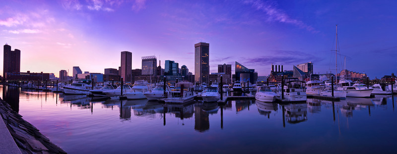 Baltimore Inner Harbor just after sunset, Maryland A 15 image panorama.