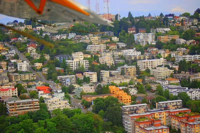 A view of Seattle from the air as our SeaPlane takes off from Lake Union on the way to Victoria, Canada.  This photograph is protected by the U.S. Copyright Laws and shall not to be downloaded or reproduced by any means without the formal written permission of L Good - noelxgood@sbcglobal.net