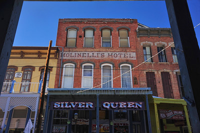 Virginia City, Nevada - Molinelli's Hotel over the Silver Queen Saloon.  Taken in January, 2013
