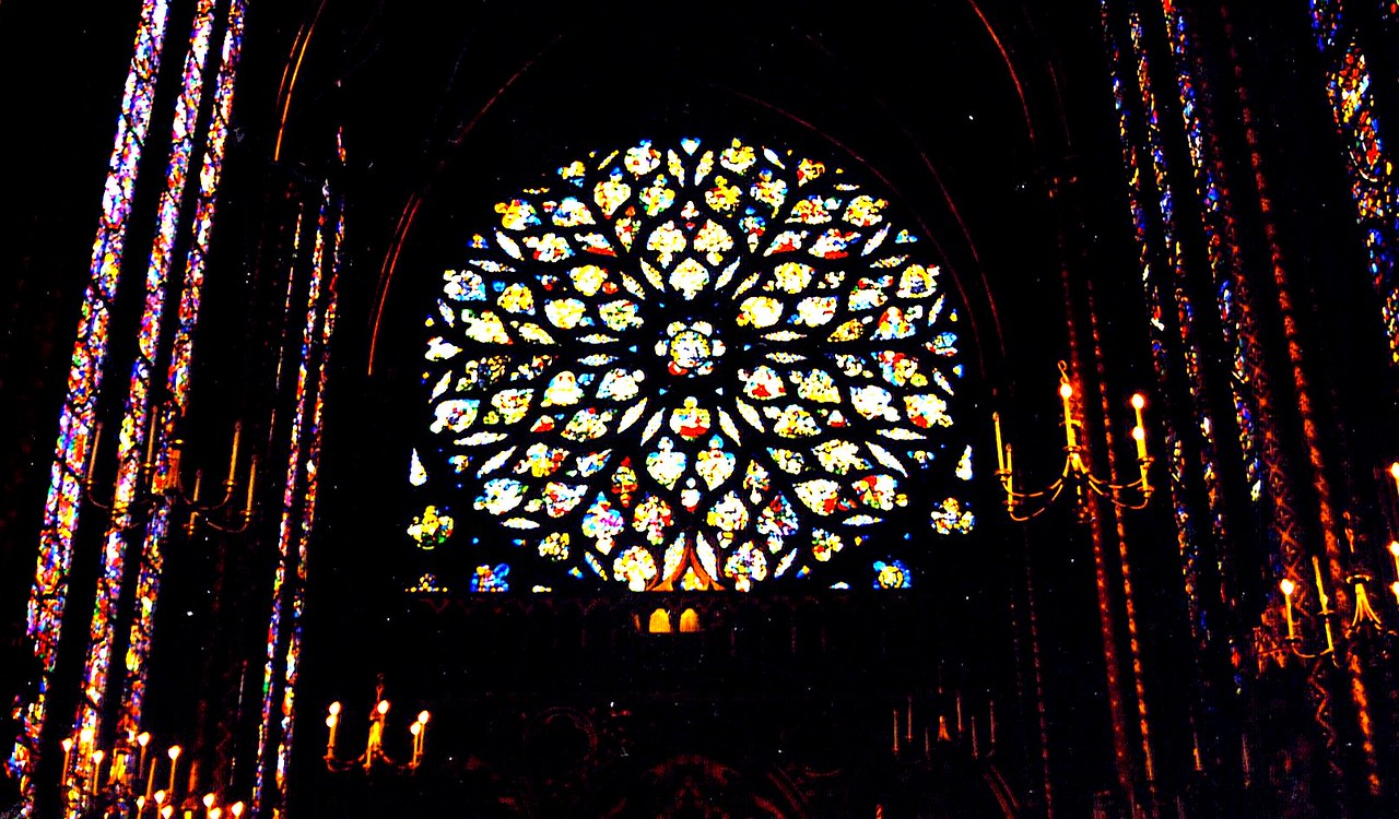 Rose window at the stunning St. Chappelle Cathedral in Paris