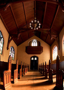 Looking back to the balcony of Evergreen Chapel, Portland, Maine 10 vertical shot panorama taken at 12mm.