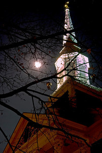 Woodfords Church with nearly full moon Portland, Maine November 12, 2008 All photographs are printed on high quality, professional Kodak metallic paper, unmatted, and shipped to you unframed so that you may choose your own matting and framing materials.  The following sizes are available unmatted: Unmatted prices: 8 x 10  $35 11 x 14  $50 16 x 20  $75 20 x 24  $100