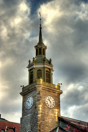 First Unitarian Universalist Church Steeple, Congress Street, Portland, ME This is an HDR (High Dynamic Range) photo comprised of 3 bracketed shots taken to allow for better highlights, midtones and shadows. All photographs are printed on high quality, professional Kodak metallic paper, unmatted, and shipped to you unframed so that you may choose your own matting and framing materials.  The following sizes are available unmatted: Unmatted prices: 8 x 10  $35 11 x 14  $50 16 x 20  $75 20 x 24  $100