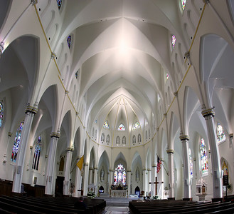 Portland, Maine's Cathedral of the Immaculate Conception--Comprised of over 20 images stacked vertically.  Hover cursor over photo to be offered the menu to enlarge and see it in its fuller size.  All panoramas are $100.00, unmatted.  Matted option not available.