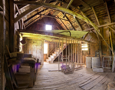 This is the Olson House Barn (in color) a five image panorama.
