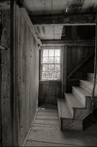 This is a view (in sepia) of the stairs leading to the loft in the Barn.