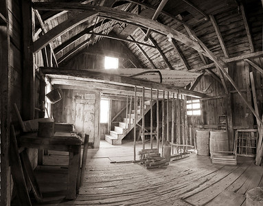 This is the Olson House Barn (in sepia) a five image panorama.