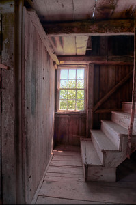 This is a view (in color) of the stairs leading to the loft in the Barn.