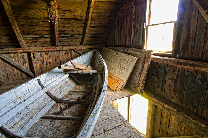 This is a view of Olson's Boat (in color) which rests in the light of a sunny window in the Barn's loft.  This was one of my favorite parts of the home.