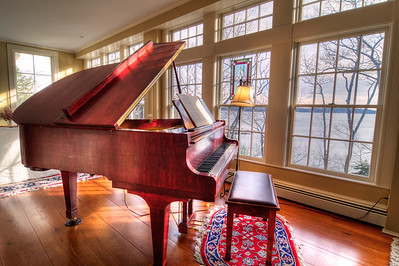 Baby Grand Piano in the Living Room/Dining Room.
