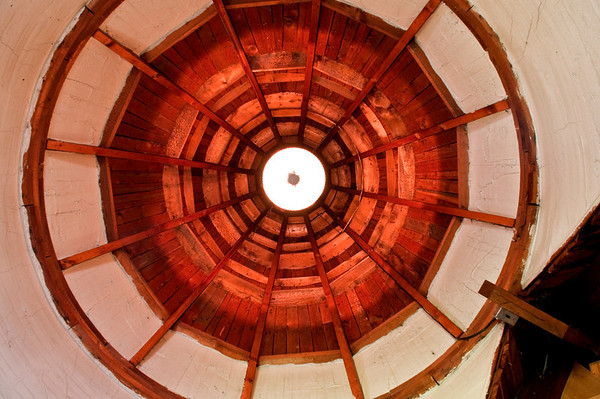 Inside the tower room in the attic, looking up.