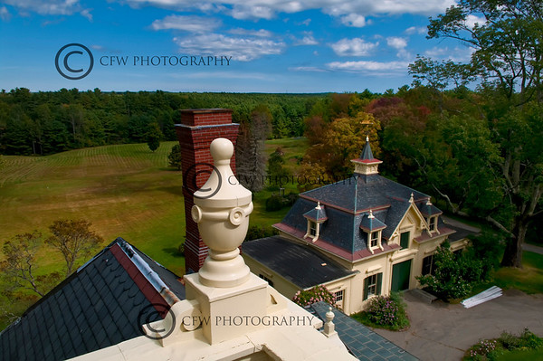 Hartley Lord Estate, the view from the Widow's Walk, carriage house below Kennebunk, Maine
