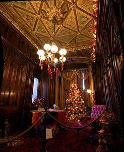 Wood Paneled Library decorated for the holidays, Victoria Mansion, Portland, ME. Comprised of 8 vertical photos, stitched together in PTGui and finished in Photoshop CS2.