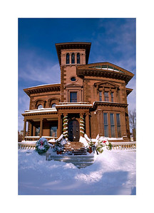 Victoria Mansion After the big December 2008 Snowstorm--handheld 8 image vertical panorama, stitched together in PTGui and finished in Photoshop CS2.
