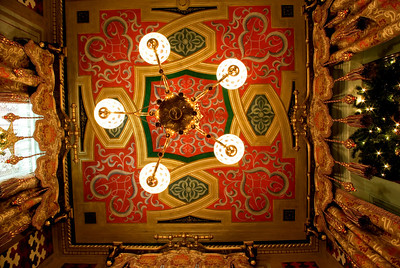 Turkish Smoking Room ceiling, Victoria Mansion, Portland, ME. The smoking room has recently been renovated and re-painted, in addition to having the fabrics (which are based on the original patterns) woven in France.  This is a single image, taken with the camera lying on the floor, pointing up at the gorgeous ceiling.