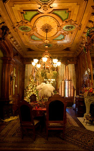 Wood paneled Dining Room, Victoria Mansion, Holiday 2008, Portland, ME. This is an 8 image vertical panorama of this amazingly ornate room, stitched together in PTGui and finished in Photoshop CS2.