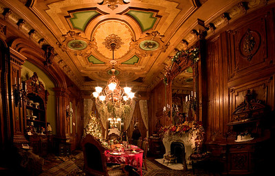 Victoria Mansion Dining Room, Portland, ME 26 image panorama, stitched together in PTGui and finished in Photoshop CS2.