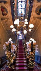 The Grand Staircase, decorated for Christmas, Victoria Mansion, Portland, ME. 12 individual shots taken vertically and stitched together in PTGui, a photoshop plugin.