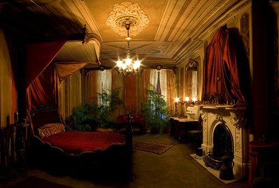 The Red Bedroom, Victoria Mansion, Portland, ME. 8 Vertical shots panned horizontally across the room from the door and stitched together using PTGui, a Photoshop plugin.