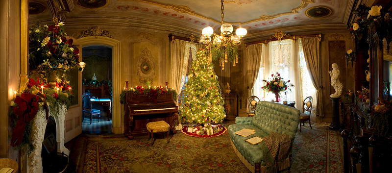 Sitting Room, decorated for Christmas, Victoria Mansion, Portland, ME. Comprised of 12 vertical shots taken across the entire room and stitched together in PTGui.