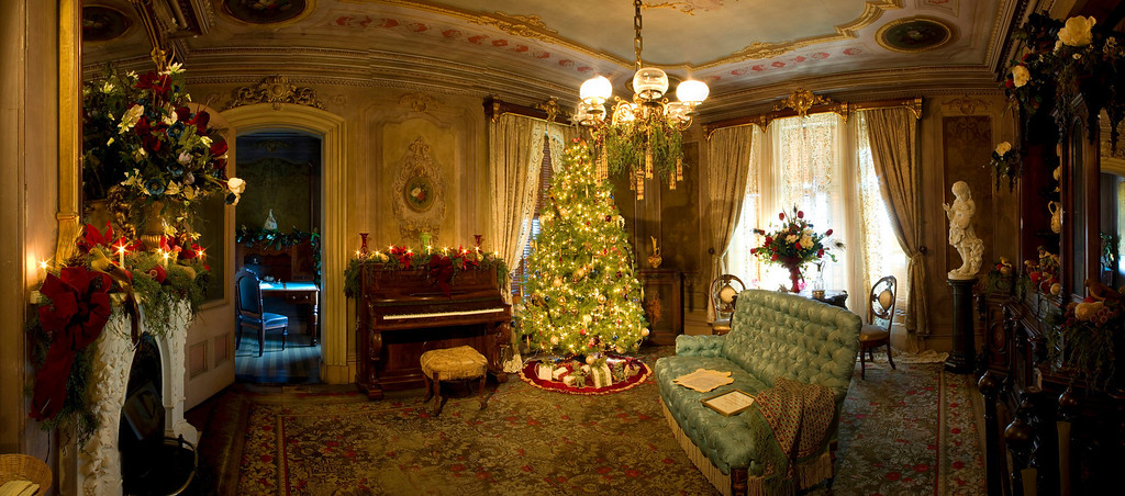 Sitting Room Decorated For Christmas Victoria Mansion Portland ME Comprised Of