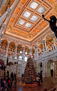 Library of Congress Grand Hall with Christmas Tree, early January 2010 (10 image vertical handheld panorama)