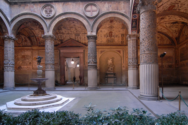 Inside architectural work in Florence (Firenze), Italy.