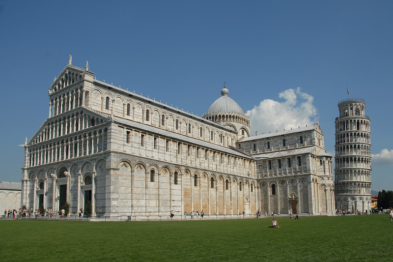 The Leaning Tower of Pisa (Italian: Torre pendente di Pisa) or simply The Tower of Pisa (La Torre di Pisa) is the campanile, or freestanding bell tower, of the cathedral of the Italian city of Pisa. It is situated behind the Cathedral and it is the third structure by time in Pisa's Piazza del Duomo (Cathedral Square).
