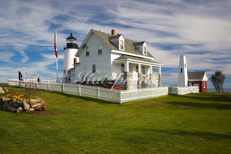 Lighthouse and outbuildings of the Pemaquid Point Lighthouse Park in Bristol, Maine