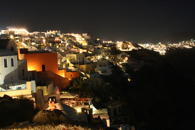 Oia at night from the fort.