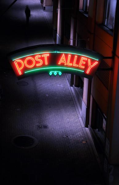 Post Alley Neon Sign at Night - Seattle, Washington