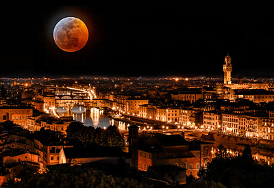Blood moon over Florence