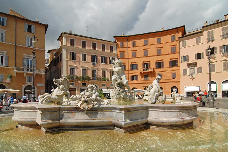 Neptune Fountain at Piazza Navona, Rome, Italy, Europe