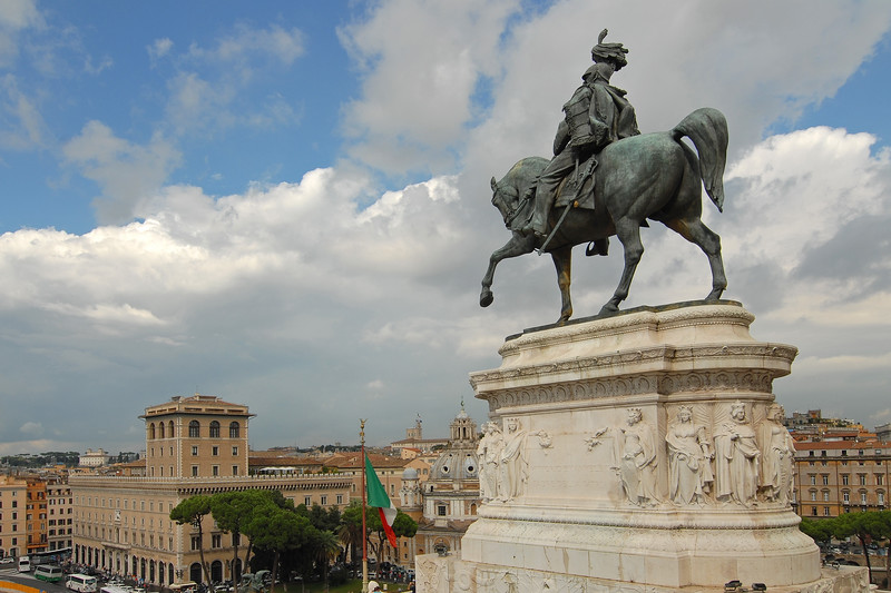 "Statue of Vittorio Emanuele II on his horse at Piazza Venezia. This has the ""Altar of the Nation,"" the Tomb of the Unknown Soldier and the largest structure (shown here) is the ""Monument to Vittorio Emmanuele II"" (the first king of a united Italy). Rome, Italy, Europe"