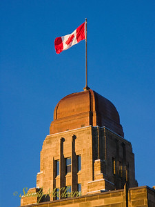 The tower and flag of the Public Works building in Halifax, Nova Scotia.