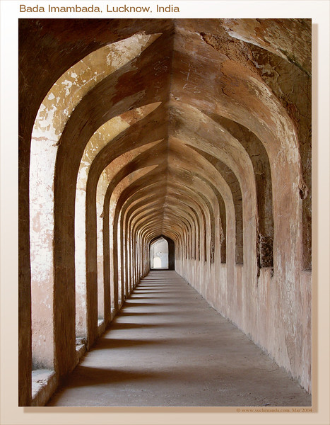 Bada Imambada, Lucknow, India. The Bada Imambada was built by Asaf-ud-Daula in the year 1784. Its construction was a part of the famine relief project, where a number of labourers were appointed to build this Imambada. It is a huge vacant hall with a length of 50 m and a height of 15 m. Close to the Imambara is the Bhul Bhulaiya - an amazing maze that might need a tourist guide to get through. Long passages with viewing areas were used by soldiers to defend the structure.