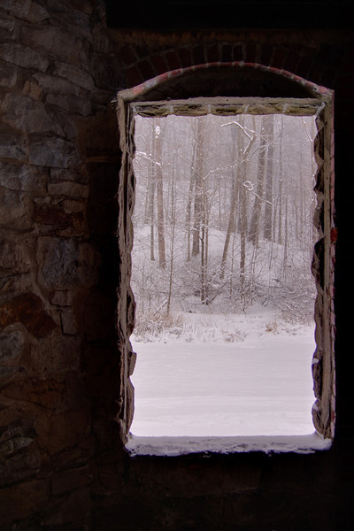 Looking through a window at Squire's Castle