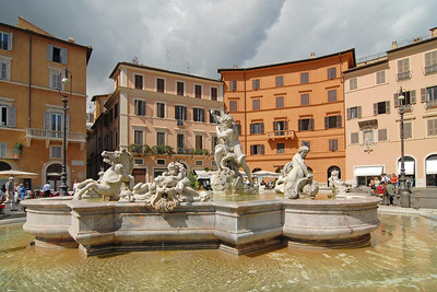 Neptune Fountain at Piazza Navona, Rome, Italy, Europe