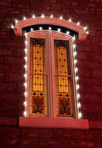 Assembly Hall Window at Night - Temple Square - Salt Lake City, Utah