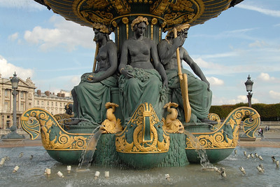 A fountain on the Place de la Concorde, Paris, France. Behind this fountain is the Hôtel de Crillon and to the left is the Embassy of the United States of America. The Place de la Concorde is one of the major squares in Paris and it is located in the city's eighth arrondissement, at the eastern end of the Champs-Élysées.