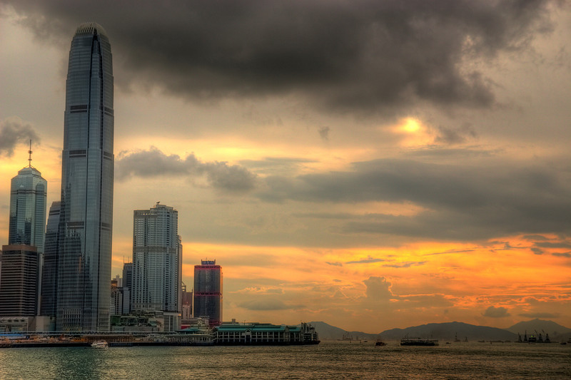 The International Finance Center near sunset.
