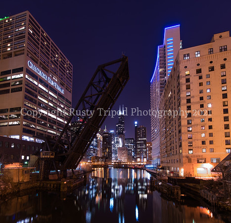 Downtown Chicago River. Entrance to the big city
