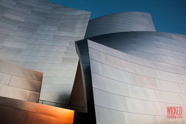 Disney Concert Hall at sunrise.