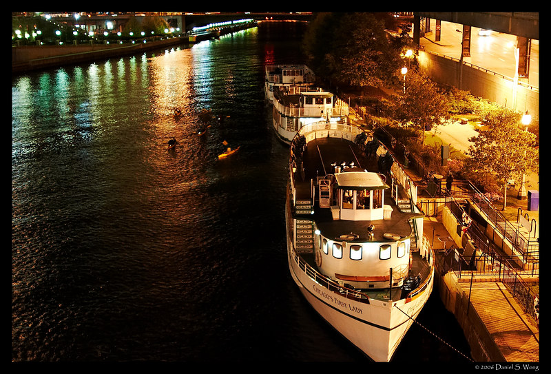 Boats on the Chicago River.