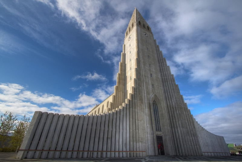 <H3>Hallgrimskirkja </H3> This is probably the most imposing man-made structure in Iceland - The Church dominates the Reykjavik cityscape and its hard to express the scale of it in the photo. The design resembles the naturally occurring vertical basalt columns (due to volcanic activity) found in numerous places in the country.