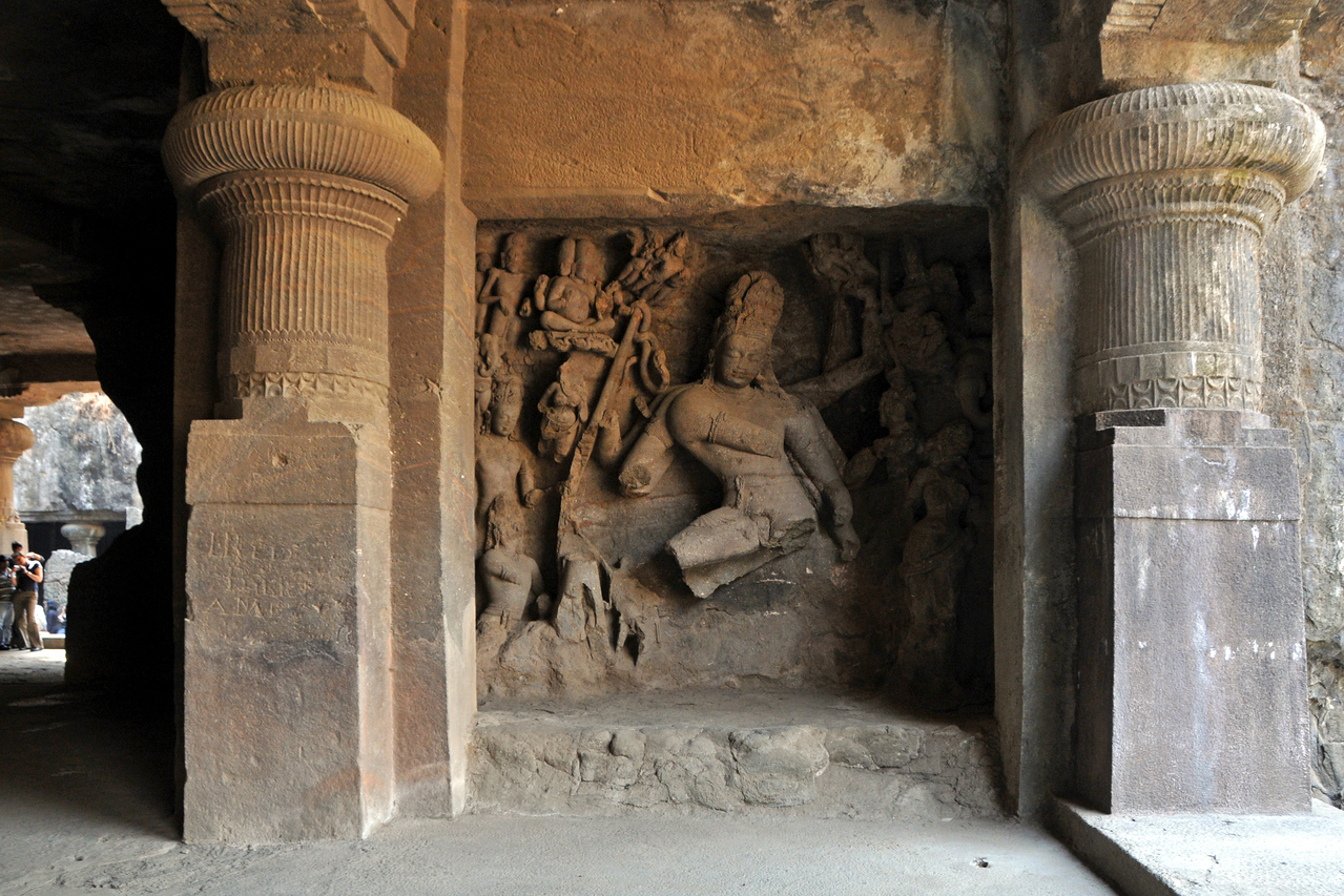 The Elephanta Caves are located just off Mumbai harbour in the Gharapuri Island also called Elephanta Island - a name given by the Portuguese when they ruled over this area. In 1987, the caves were designated a UNESCO World Heritage Site. Hewn out of solid rock, the Elephanta Caves date back to 600 AD. The caves attract many visitors who take an hour long ferry boat ride to reach from Gateway of India. The cave complex is a collection of rock-cut architecture with stone sculptures of Hindu Gods and Goddesses.