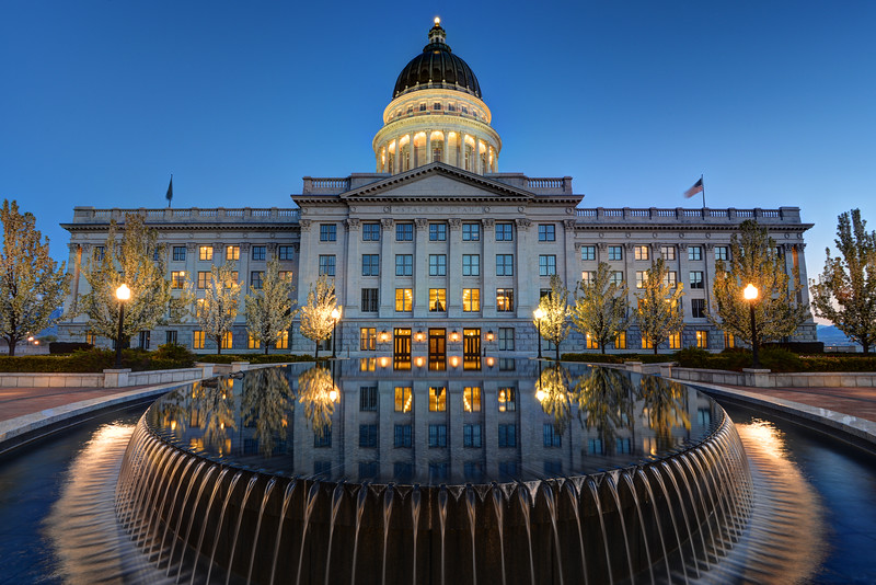 Utah State Capitol Building and Reflecting Fountain at Sunset