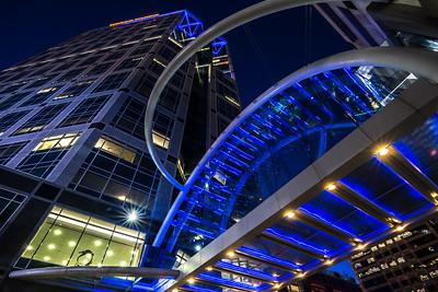 Wells Fargo Building -  Illuminated Sky Bridge - Downtown Salt Lake City, Utah